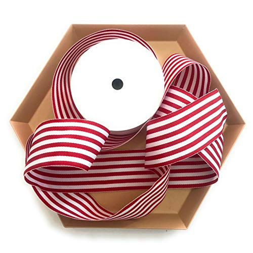 Red and White Striped Grosgrain Ribbon 1 ½ Inch, 10 Yards | Red & White Fabric Ribbon 1.5 Inch, Double Face | Fabric Ribbon for Valentine's Day Gifts, Birthdays, Hair Bows, Crafts, Party Décor ()