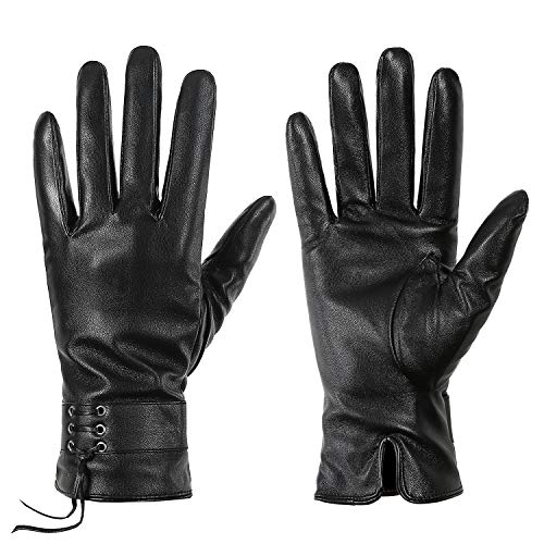 Winter Leather Gloves for Women, Touchscreen Texting Warm Lined Driving Gloves by Dsane