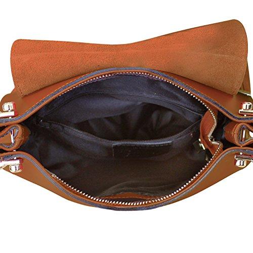 Borsa a Tracolla Bonnie Borsa in Vera Pelle Liscia e Camoscio Made in Italy Maison Bag 22x24x8 cm Nocciola