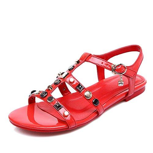 AdeeSu Womens Oversized Structured Cold Lining Urethane Sandals SLC03822 Red ocu4B7