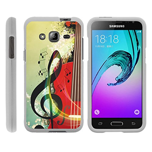 TurtleArmor | Compatible for Samsung Galaxy J3 Case | Amp Prime | Express Prime [Slim Duo] Slim Fitted Compact Hard Protector Snap On Case on White Music Design - Music Symbol Note