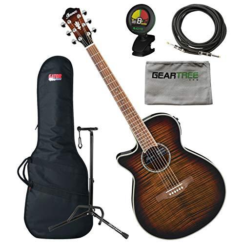 Ibanez AEG19LIITIB Left Handed Acoustic Electric Guitar Tiger Burst w/Gig Bag,
