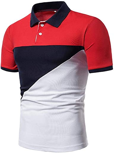 YFLTP Daily Wear Street Chic Polo para Hombre - Camisa Color Block ...