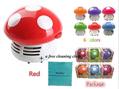Makhry Mushroom Shaped New Portable Corner Desk Vacuum Cleaner Mini Cute Vacuum Cleaner Dust Sweepe (Red)