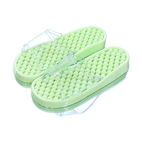 Indoor female non water massage bath crystal slippers Light summer Summer slip Green bathroom couples sandals bottom flat leak plastic home qxWg4TFngB