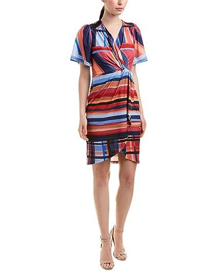 f2671fb2 CATHERINE CATHERINE MALANDRINO Women's Nyla V-Neck Short Sleeve Twist Front  Mini Dress Washed Stripe