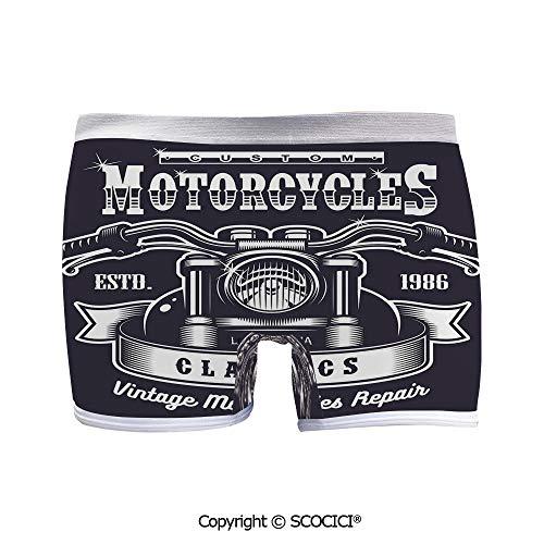 SCOCICI Breathable Boyshort Panties Custom Motorbikes Chopper for Yoga/Beach