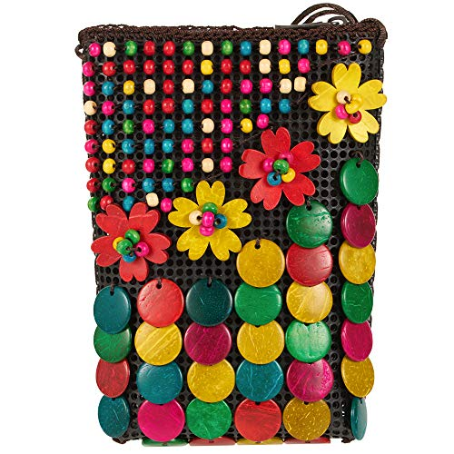 Womens Girls Natural Coconut Shell Bag Handmade Colorful Beaded Cross Body Bag Summer Beach Bags Purse