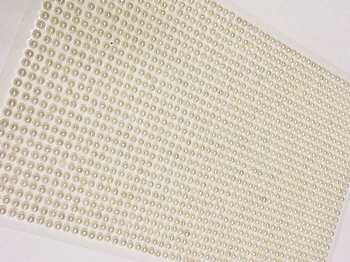 CraftbuddyUS 1500 Bulk Sheet of 3mm Self Adhesive Pearls Stick on Gems Wedding Craft