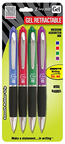 (Zebra Z-Grip MAX Roller Ball Gel Retractable Pen, 0.7mm, Assorted, 4-Pack)