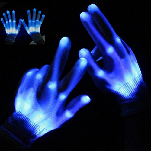 Led Light Stick Person Costume (Led Skeleton Gloves, Light Up Knit Gloves, Party Light Show Gloves For Clubbing, Rave, Birthday, EDM, Disco, Christmas, Halloween And Dubstep Party by Shellvcase)