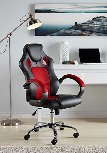 IDS Online MLM-17970 Executive Racing Office Chair High-Back Mesh Bucket Seat Sit-to-Move Wheel Casters, Red IDS