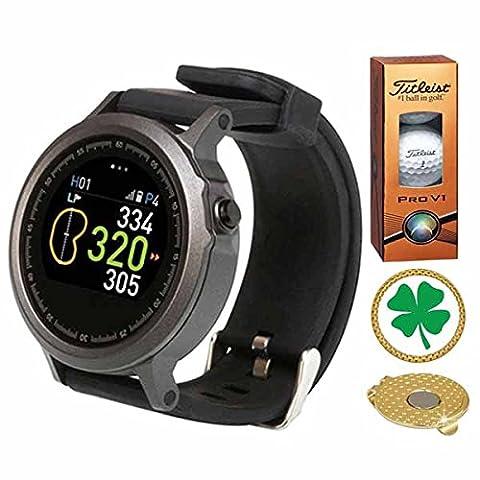GolfBuddy WTX Golf GPS/Rangefinder Smart Watch (40k+ Preloaded Worldwide Courses) Bundle with 1 Sleeve (3 Balls) Titleist Pro V1 and Magnetic Hat Clip Ball Marker (Four Leaf - 2.0 Rx Eyewear