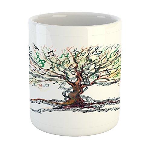 Ambesonne Music Mug, Musical Tree Autumnal Clef Trunk Swirl Nature Illustration Leaves Creative Design, Printed Ceramic Coffee Mug Water Tea Drinks Cup, Multicolor - House Mug Music