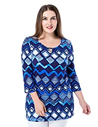 Chicwe Women's Notched Round Neck 3/4 Sleeves Printed Plus Size Tunic Top US12-28