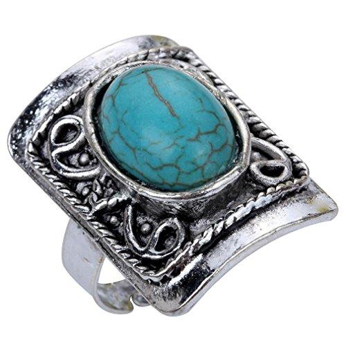 YAZILIND Vintage Vogue Oval Rimous Carved Rectangular Shape Big Ring (Shape Rectangular Ring)