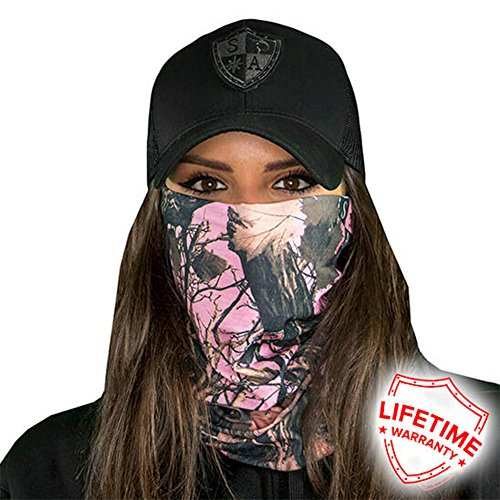 Sa Company Face Shield Micro Fiber Protect from Wind, Dirt and Bugs. Worn as a Balaclava, Neck Gaiter & Head Band for Hunting, Fishing, Boating, Cycling, Paintball and Salt Lovers. - Pink Forest Camo