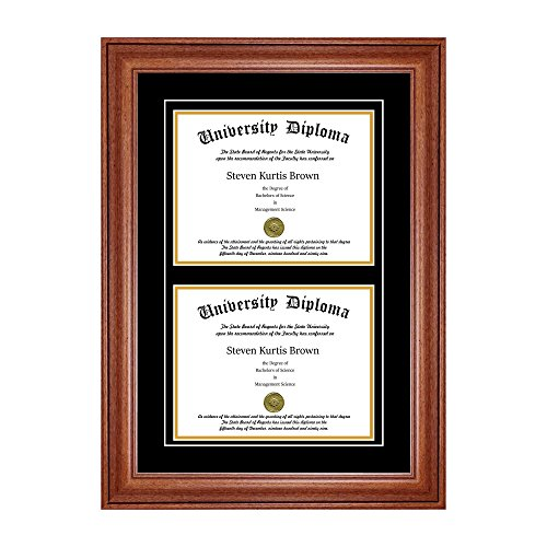 Double Diploma Frame with Double Matting for 8.5
