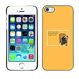KOKO CASE / Apple Iphone 5 / 5S / cita divertida flaca mujer dieta rica en grasas / Delgado Negro Plástico caso cubierta Shell Armor Funda Case Cover