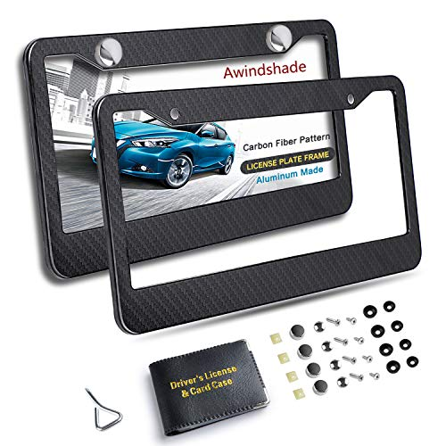 Awindshade Carbon Fiber License Plate Frame 2PCS Black License Plate Frames with Screw Kits Standard Size for US Vehicles