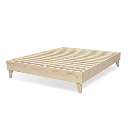 Eluxurysupply Modern Farmhouse Platform Bed With Slat Support 100 Usa Made North American Pine Solid Wood No Box Spring Needed Diy Natural