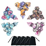 5 x 7-Die Series Two Colors Dungeons and Dragons DND RPG MTG Table Games Dice with FREE Pouches