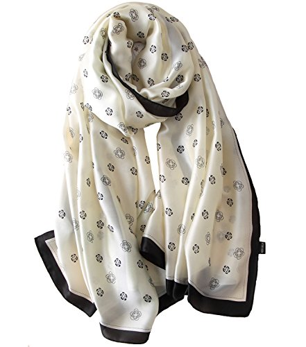 (NUWEERIR Womens 100% Mulberry Silk Scarf Long Satin Scarf Fashion Designer Scarf Lightweight Neck)