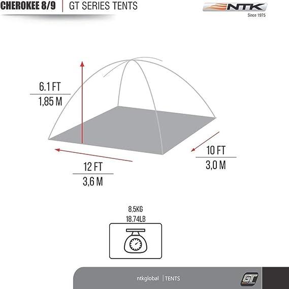 NTK Tienda de Campaña Resistente 100% Impermeable para 8 a 9 Personas Acampada al Aire Libre y Senderismo Tamaño Familiar 366 x 304 x 182 cm - Cherokee GT ...