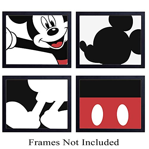 Mickey Mouse Parts - Unframed Wall Art Prints - Set of Four - Perfect Gift For Baby Boys and Girls - Disney World Fans - Disneyworld - Great For Home Decor - Ready to Frame (8X10) Vintage Photos