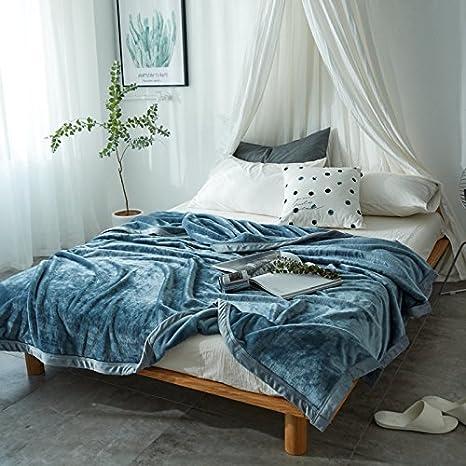 Znzbzt Aire acondicionado de franela single doble manta mantas delgadas mantas de vellón de coral con edredones, colchas toallas ,230cmx270cm, manta azul.