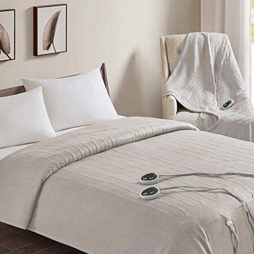 Beautyrest - Heated Fleece Blanket and Throw Combo Set - Tan - King Size Blanket 100