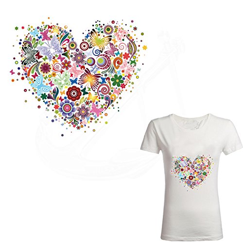 ESH7 1Pcs 23X20cm Butterfly Flowers Heart-shaped DIY Girls Iron on Patches Jacket T-shirt Grade-A Thermal Transfer Patch for Clothing