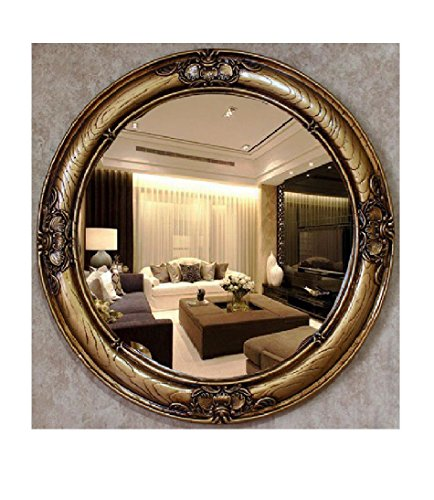 European-Style Creative Antique Metal Hand-Crafted Bathroom Mirror Decorative Wall Mirror Environmental Resin Red Wood Color Silver Mirror Diameter Of About 68cm Lens Diameter 51cm (282) , b