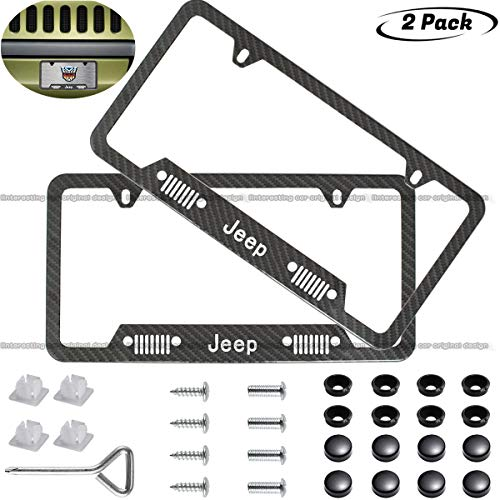 Individual Frames - 2pcs Heavy Duty Jeep Off-Road Logo License Plate Stainless Steel Frame,with Carbon Fiber Textured Glossy Finish for Jeep Emblem,Make Your car More Individual