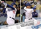 2017 Topps Now Single to Tie Pinch Hit Walkoff Cody Bellinger and Austin Barnes Los Angeles Dodgers Card #129