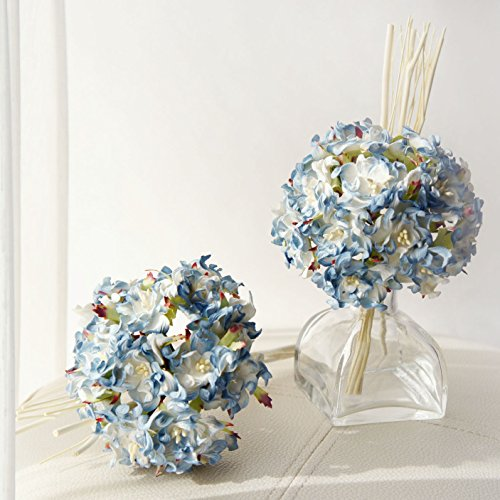 Plawanature Light Blue Hydrangea Bundle Mulberry Paper Flower Bouquet with Reed Diffuser for Home Fragrance.