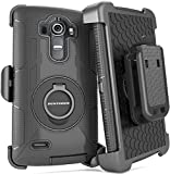 LG G4 Case, BENTOBEN [Belt Clip] [Holster]Shockproof Heavy Duty Hybrid Full Body Rugged Holster Protective Case with Built-in Rotating Kickstand for LG G4 H811/ LS991/ VS986 / US991,Black