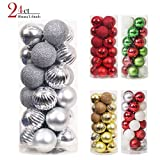 Valery Madelyn 24ct 40mm/1.57inch Essential Small Silver Shatterproof Christmas Ornament Tree Ball Decoration for Holiday Wedding Party, Balls with String Pre-Tied, Themed with Tree Skirt(Not Included