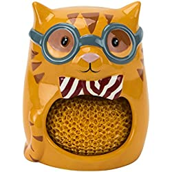 Hand Painted Scrubby & Sponge Holder, Smarty Cat Collection