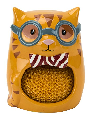 (Scrubby & Sponge Holder, Smarty Cat Collection, Hand-painted Earthenware by Boston Warehouse)