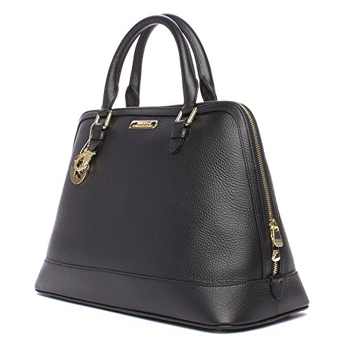 Handle Top Women Leather Black Satchel Collections Versace Handbag OqSwnxBIC