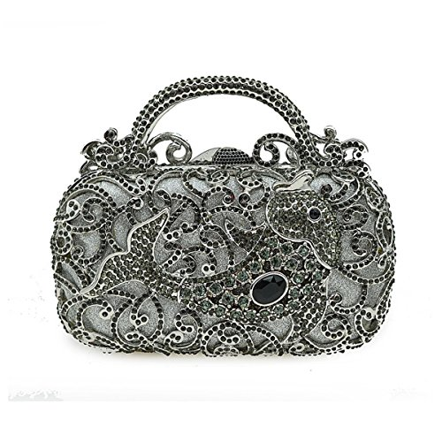 Full Crystal Bag Clutch Bag Bag Small Rhinestone Grey Dinner Luxury Ladies Banquet Fashion Bag Evening Handbag Chain nB8SFgt