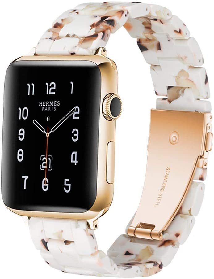 LINKWOW Resin Strap Compatible with Apple Watch Band 38mm 40mm 42mm 44mm Series1 Series2 Series3 Series4 Series5,Ladies and Men Fashionable Resin Watch Band,iWatch Replacement Wristband