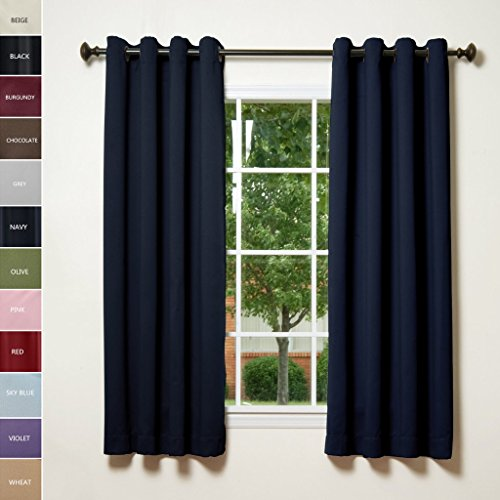 ChadMade Solid Thermal Insulated Blackout Curtains Drapes Antique Bronze  Grommet / Eyelet Navy 52W X 84L Inch (Set Of 2 Panels)