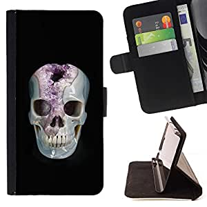 Momo Phone Case / Flip Funda de Cuero Case Cover - Minerales Marie Cráneo Negro Amethyst - LG G4c Curve H522Y (G4 MINI), NOT FOR LG G4