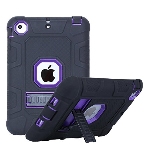 iPad mini 1/2/3 Case, Firefish 3 in 1 Hybrid Heavy Duty Shockproof Protective Cover Hard PC Rugged Soft Silicone Bumper Dual Layer Case for Apple iPad mini 1/2/3 - Black Purple