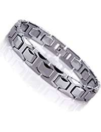 Stunning Solid Tungsten Link Bracelet for Men Polished Pyramid Style (Silver, 11mm)
