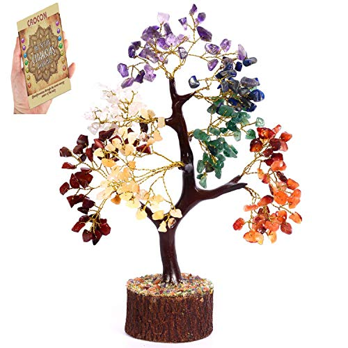 Crocon Natural Healing Gemstone Crystal Bonsai Fortune Money Tree for Good Luck, Wealth & Prosperity Spiritual Gift Size 10-12 Inch (Seven Chakra (Golden Wire)) (Feng Shui Money Area Of Your Home)