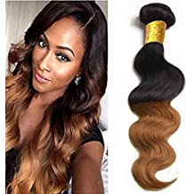 eCowboy 6A ombre Brazilian Human Hair BODY WAVE Weave Extension, 100% Human Hair GUARANTEED Beautiful Tip-Dyed Two-Tone Color #1B/#30 - 18 Inch