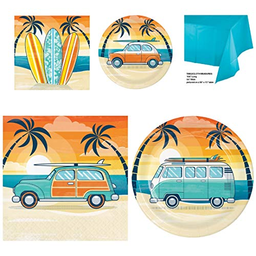 Surf Theme Party Supplies, Serves 16: Sturdy Dinner And Dessert Plates, Luncheon And Beverage Napkins, Plastic Table Cover, Wildflower Party Planner -